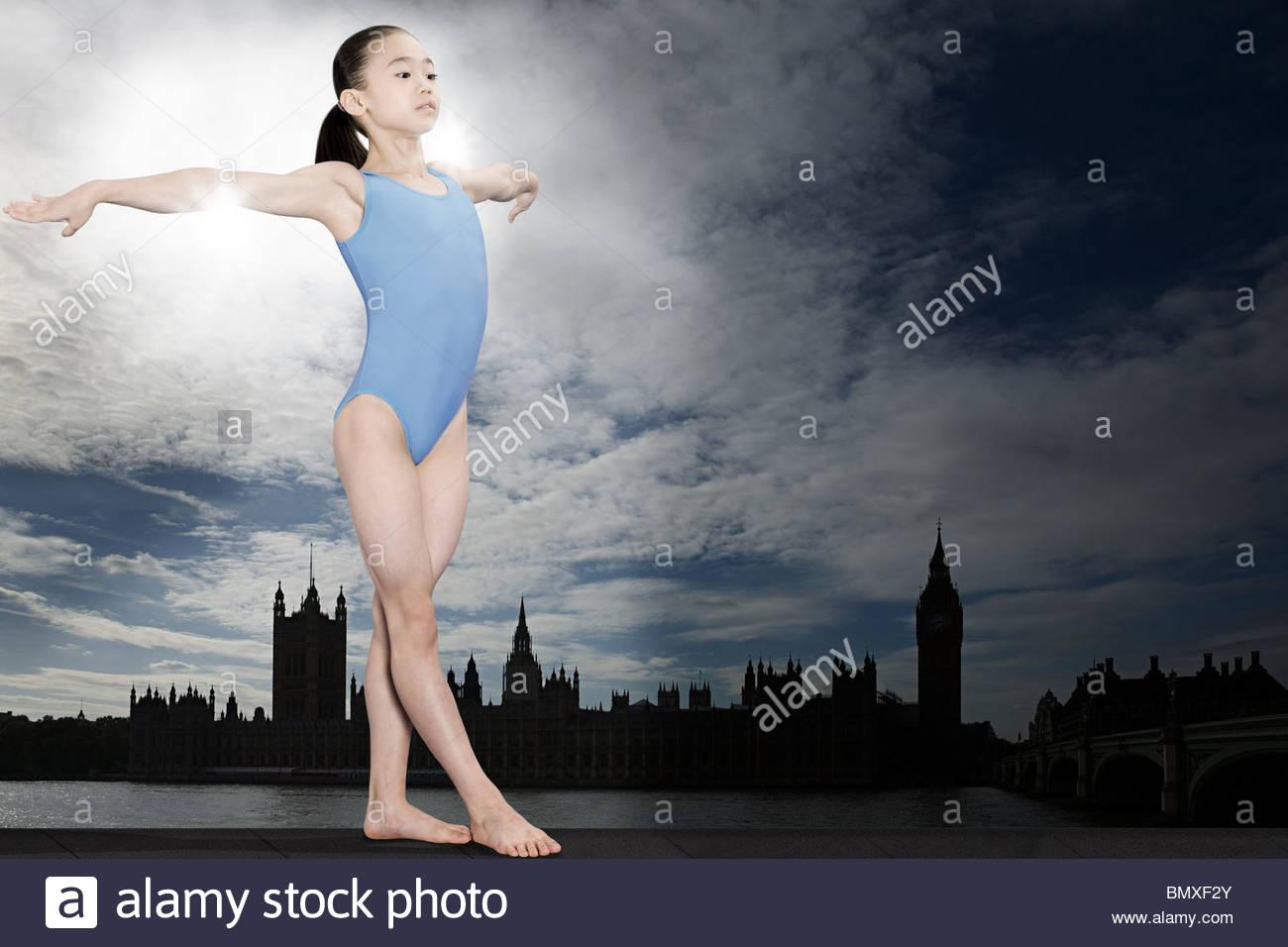 Girl gymnast in westminster - Stock Image
