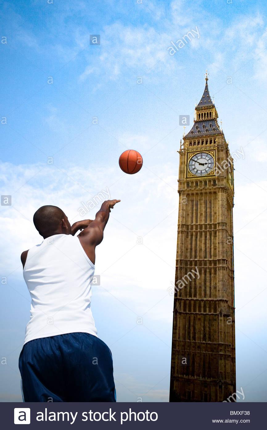 Basketball player and big ben - Stock Image
