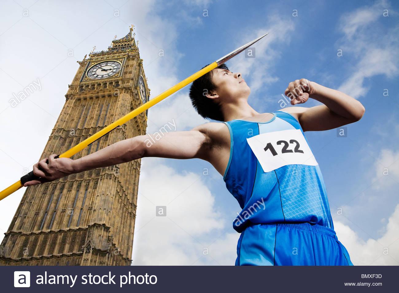 Javelin thrower by big ben - Stock Image