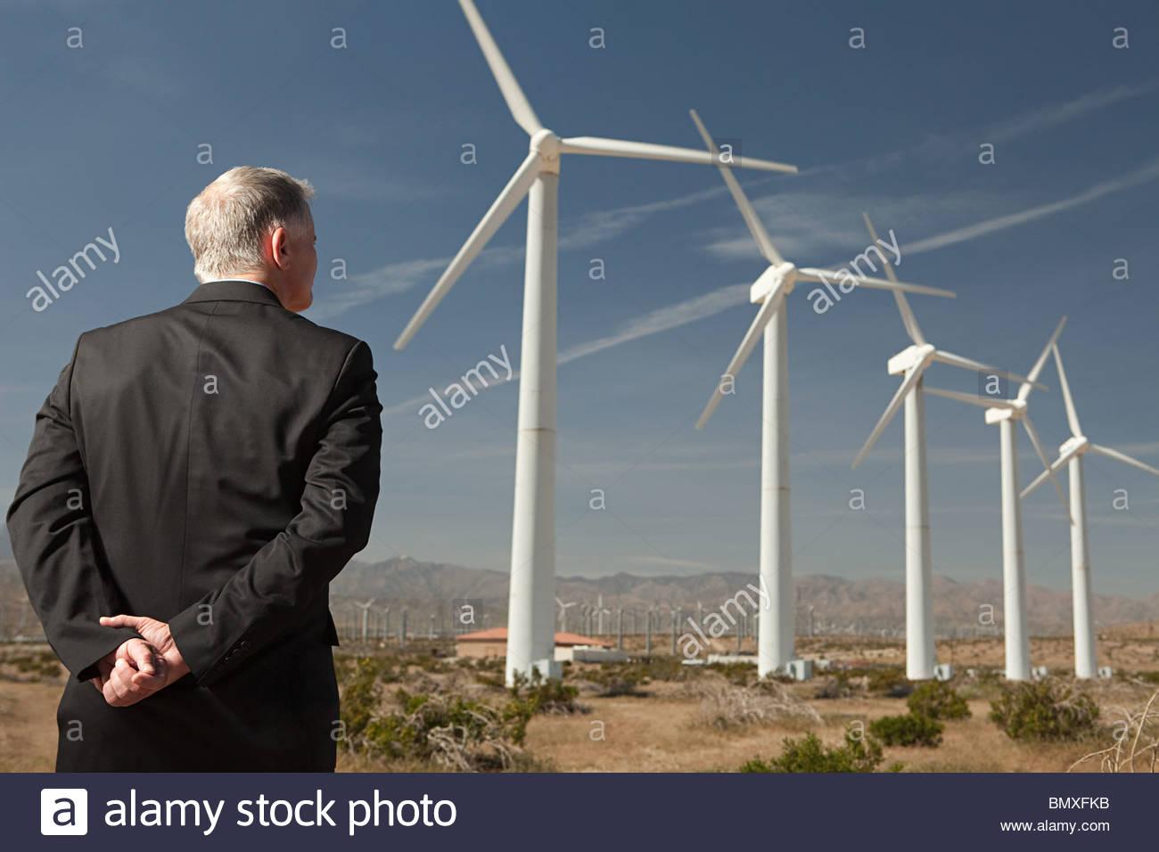 Businessman on a wind farm - Stock Image