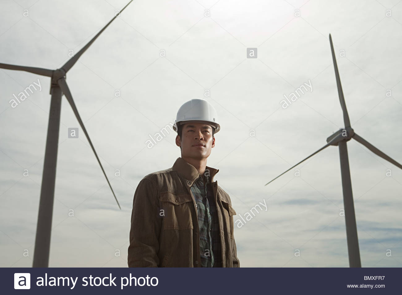 Engineer at a wind farm - Stock Image