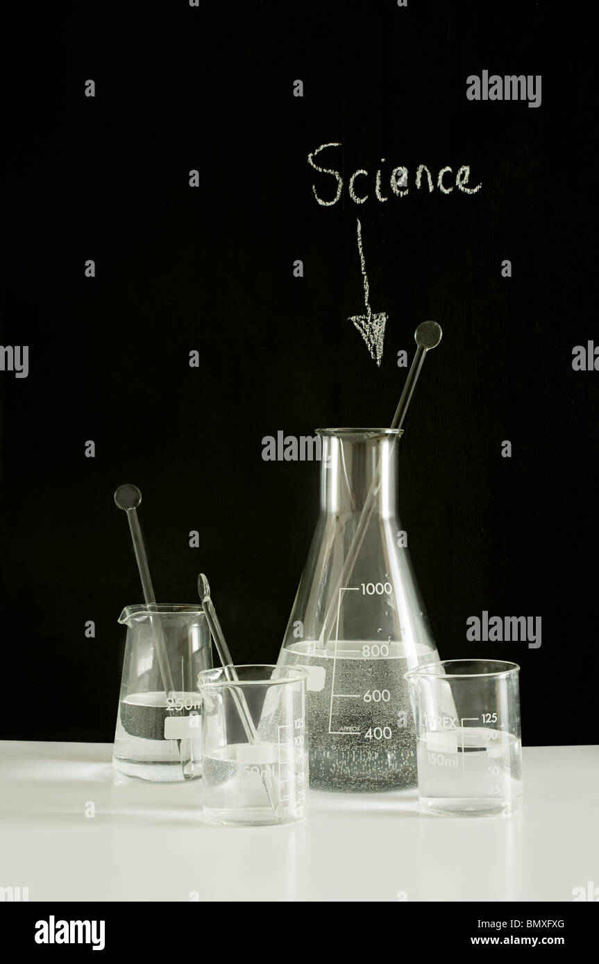 Scientific beakers and flasks - Stock Image