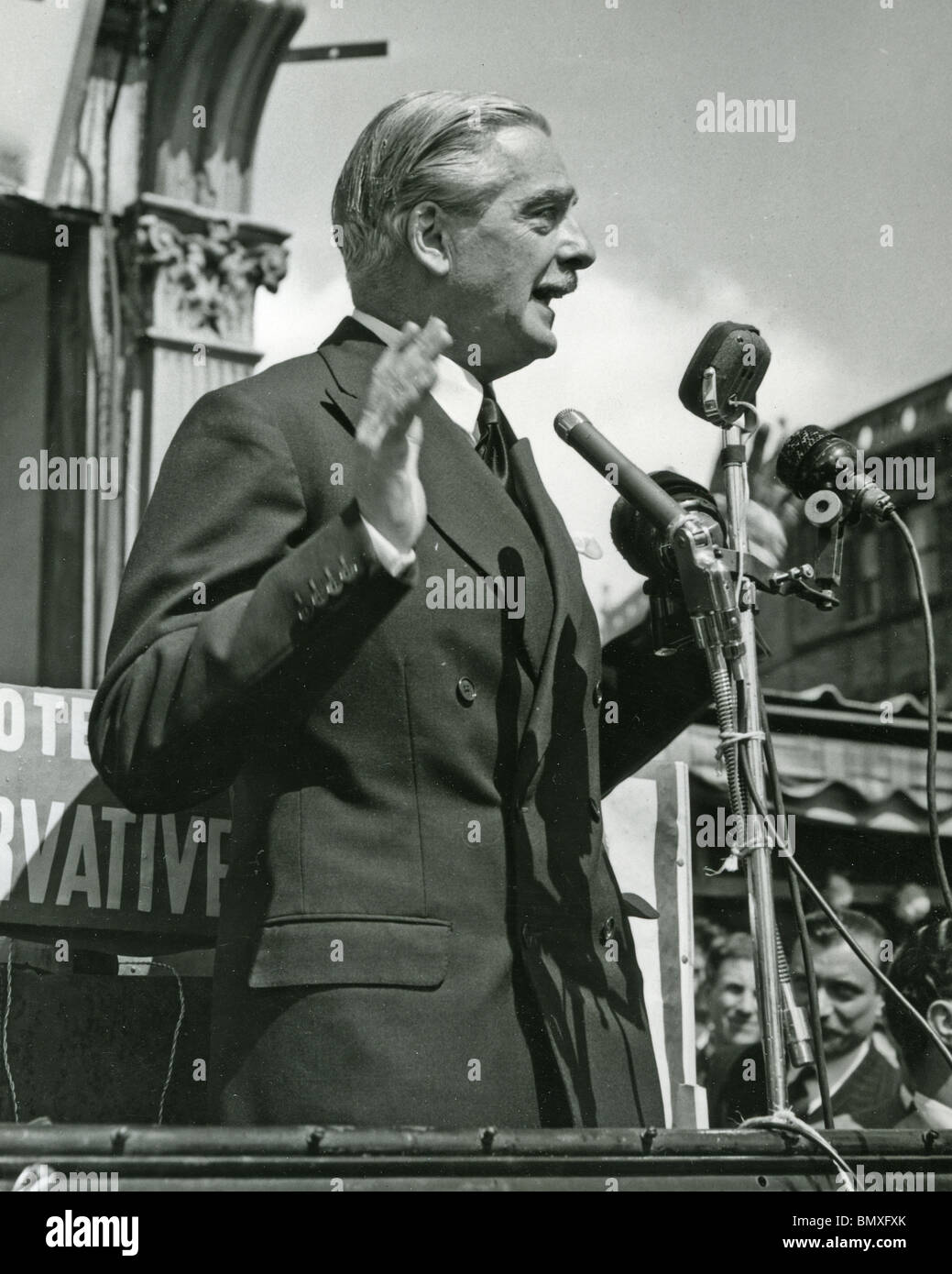 SIR ANTHONY EDEN  campaigning in 1955 when he became British Prime Minister - Stock Image