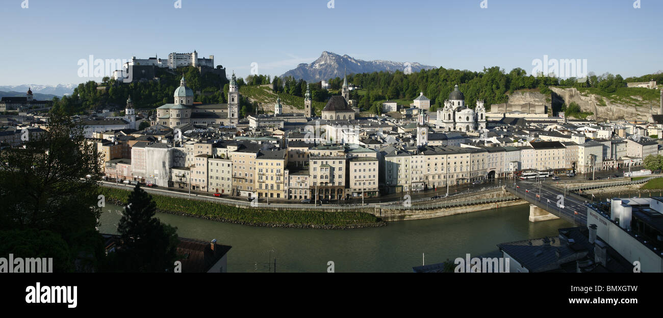 Panoramic View of Salzach River, Altstadt / Old City and Festung Hohensalzburg / Hohensalzburg Fortress, Salzburg, - Stock Image