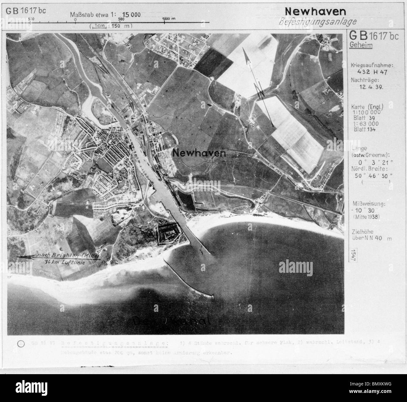 Newhaven - Sussex 12th April 1939 Harbour, Fortifications & Coastal Defences - Stock Image
