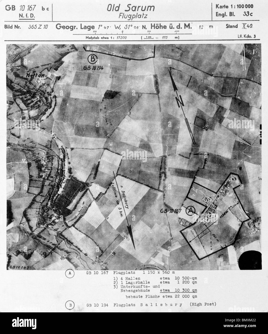 Old Sarum - Wiltshire 1st October 1940 Airfield Stock Photo
