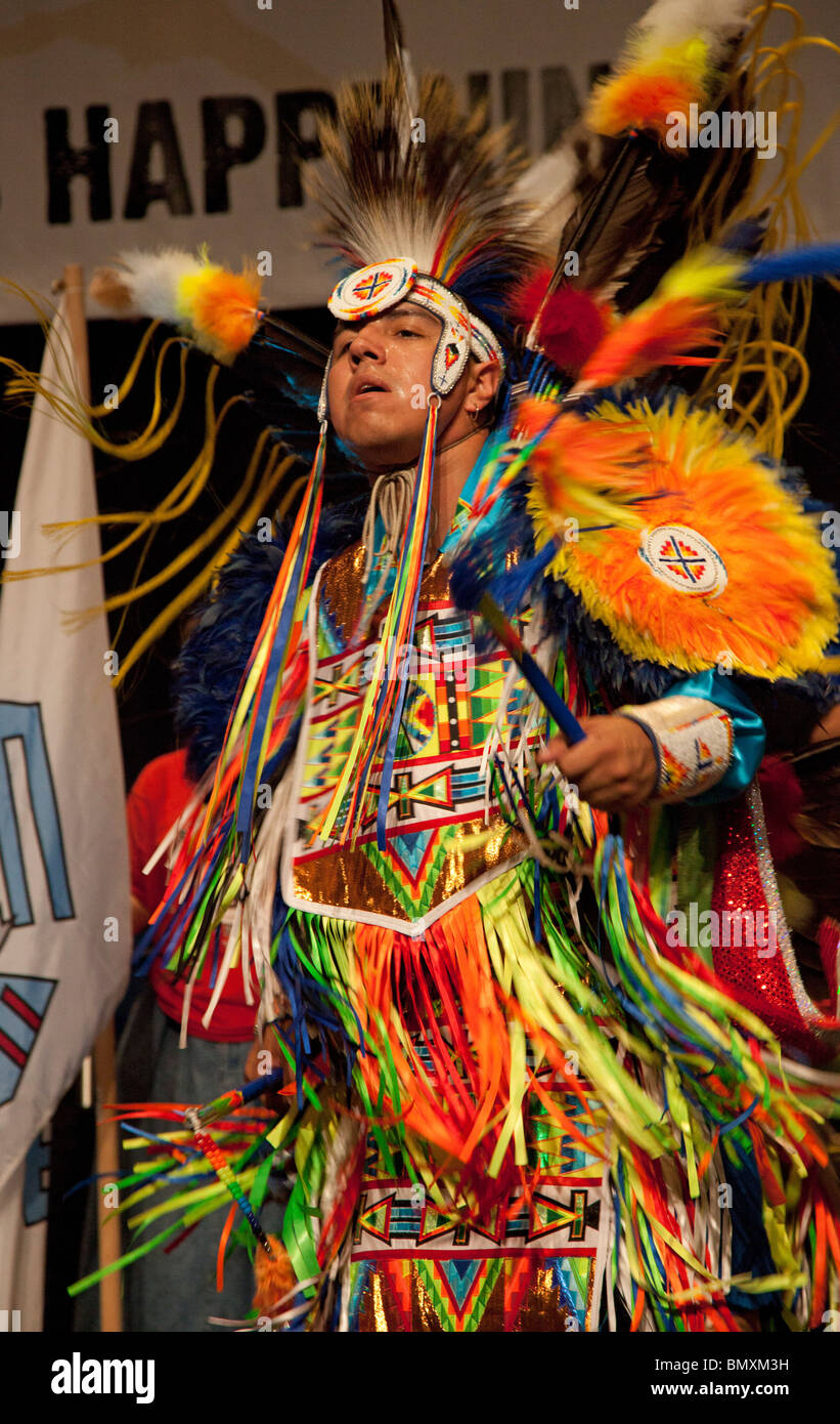 Detroit, Michigan - Native Americans danced during the opening session of the United States Social Forum. - Stock Image