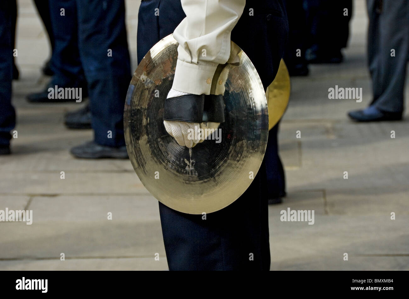 Member of the Scout band holding cymbal York North Yorkshire England UK United Kingdom GB Great Britain - Stock Image