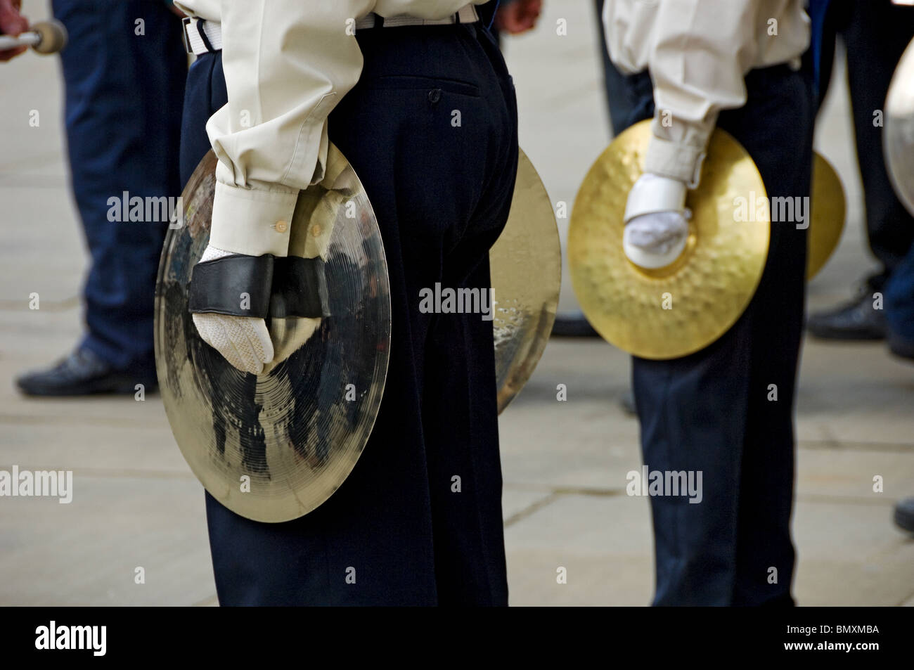 Cymbal players in the Scout band standing to attention York North Yorkshire England UK United Kingdom GB Great Britain - Stock Image