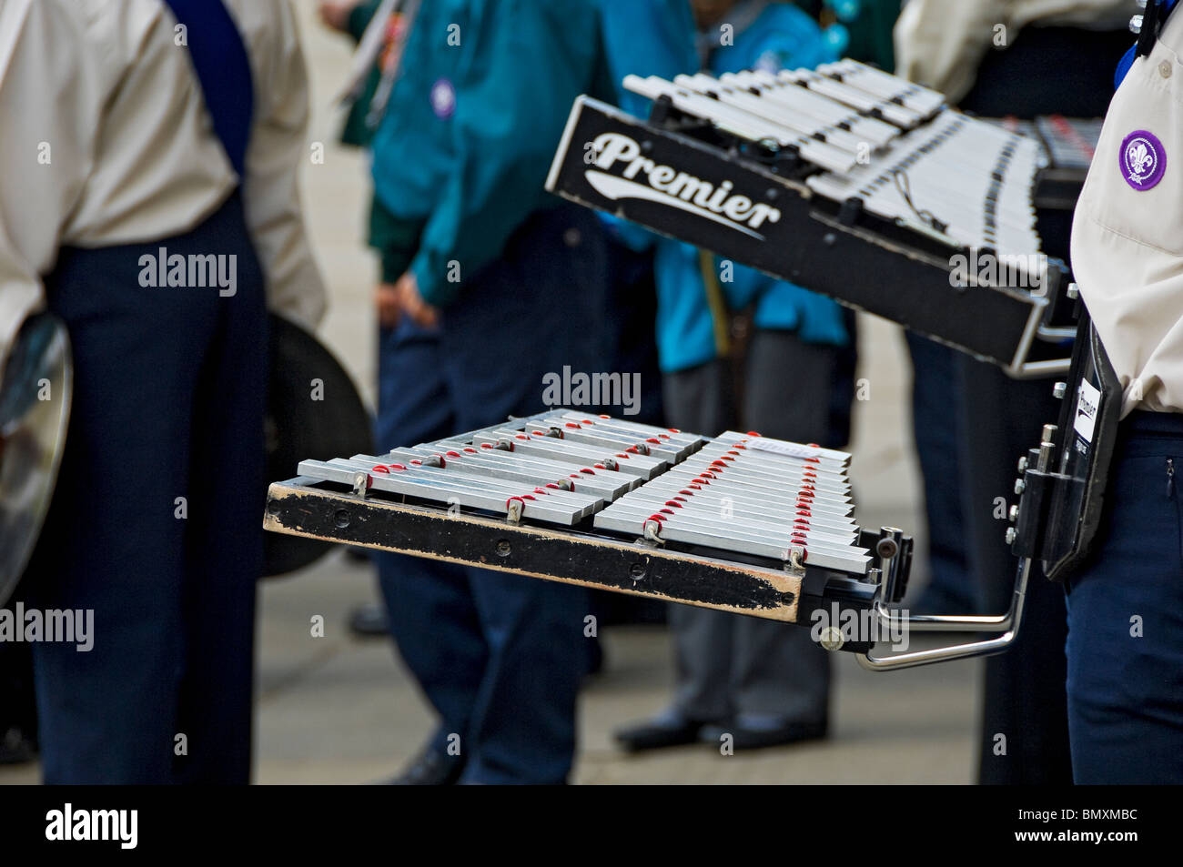 Close up of glockenspiel player in the Scout band York North Yorkshire England UK United Kingdom GB Great Britain - Stock Image