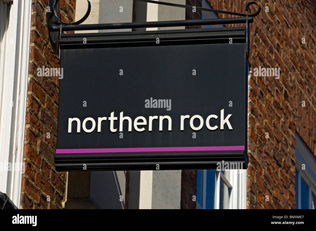 Northern Rock bank sign York North Yorkshire England UK United Kingdom GB Great Britain - Stock Image