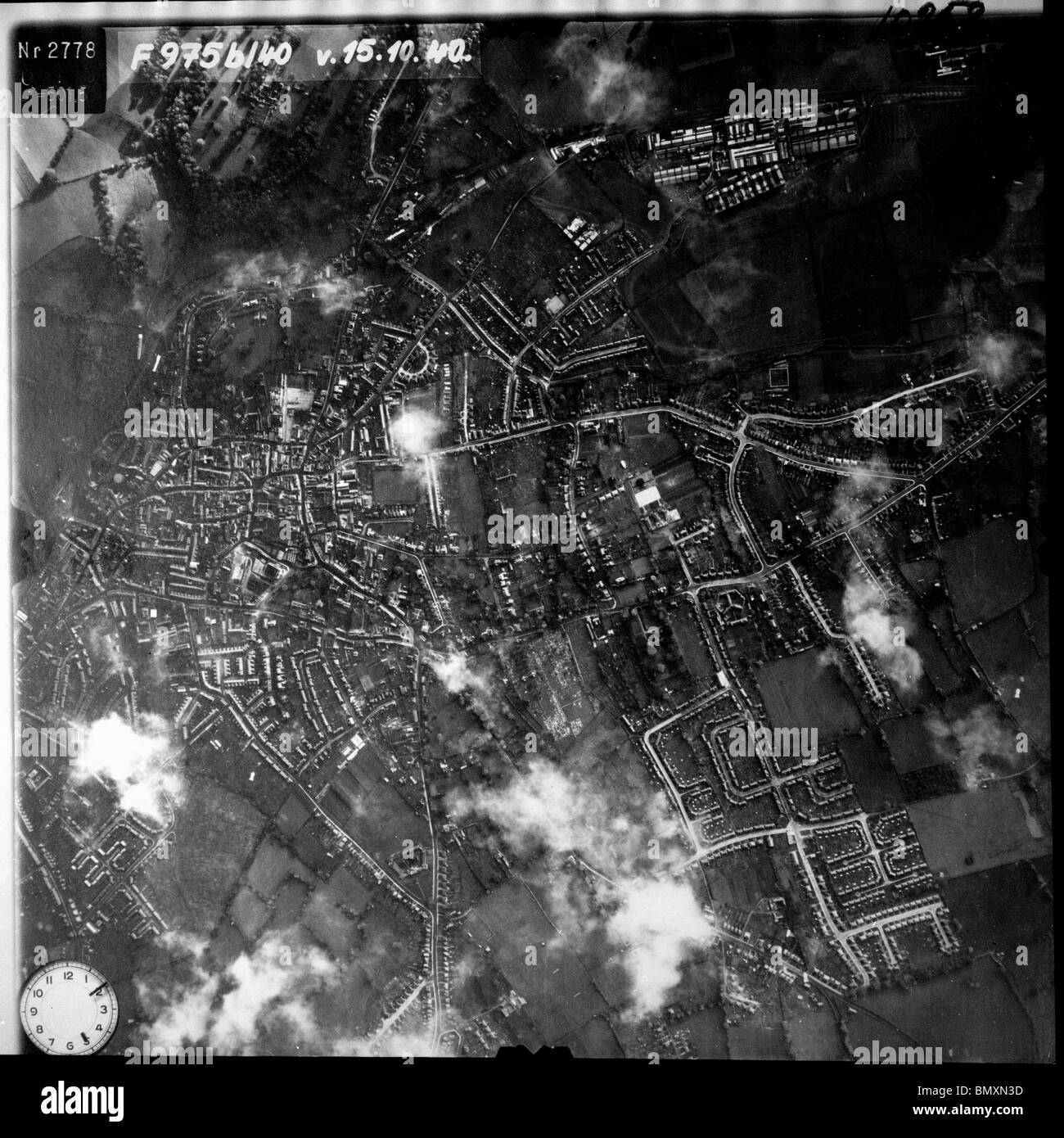 Yeovil - Somerset 15thOctober 1940 Westland Aircraft Works, Airfield & Barrage Balloons - Stock Image