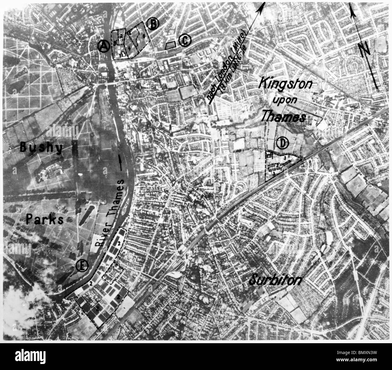 London - Kingston upon Thames & Surbiton 12th August 1940 Waterworks & Hawker Aircraft Factory. - Stock Image