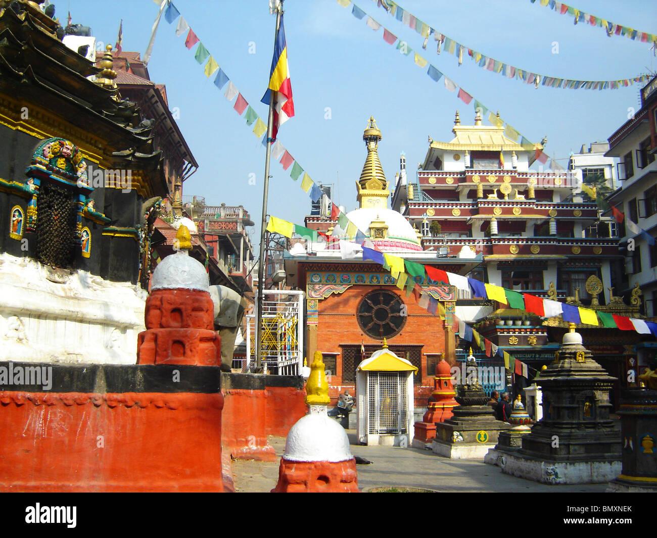 a wat temple in katmandu with prayer flags - Stock Image