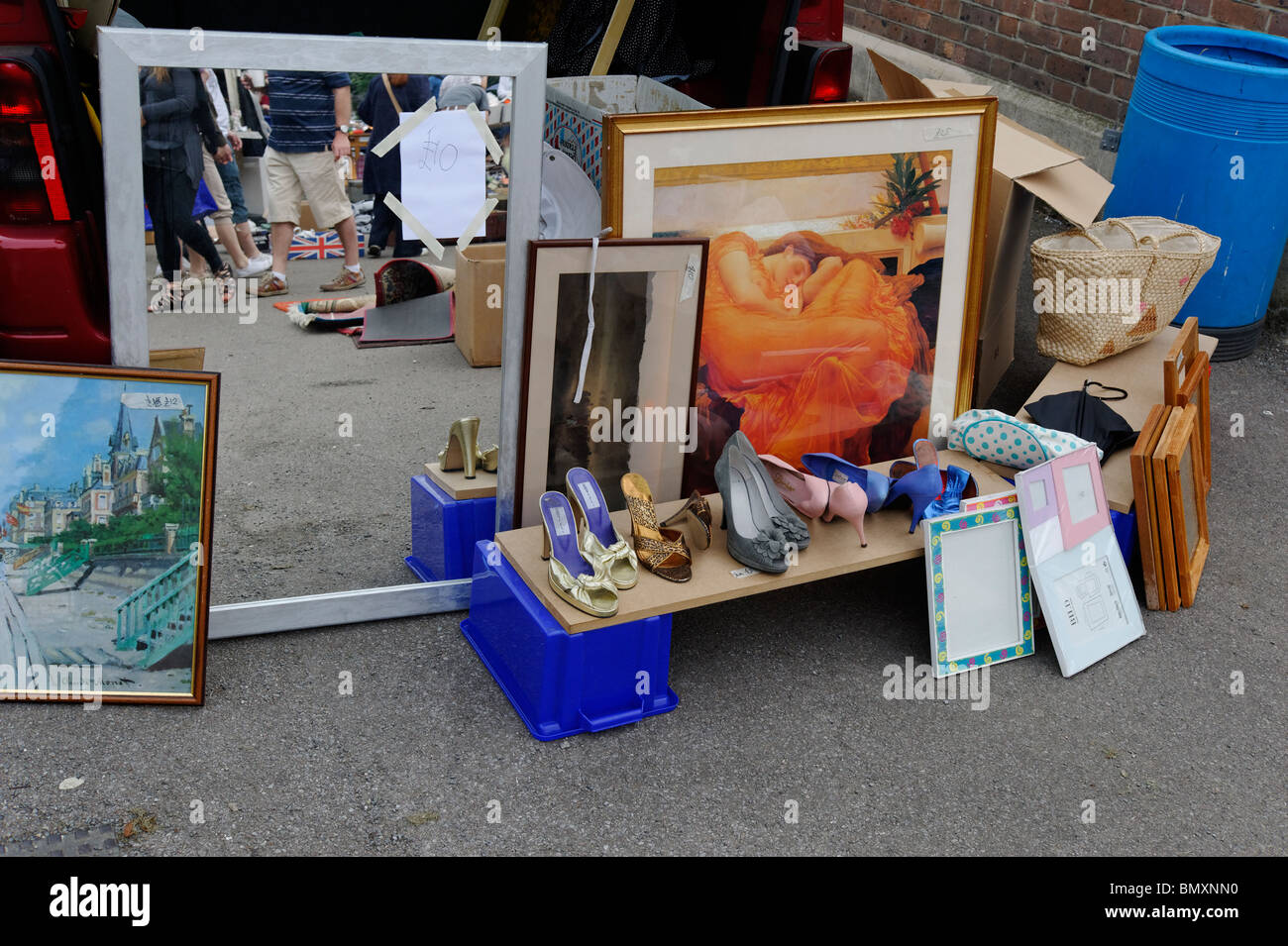Car boot sale shoppers can see these wares in Chiswick, West London - Stock Image