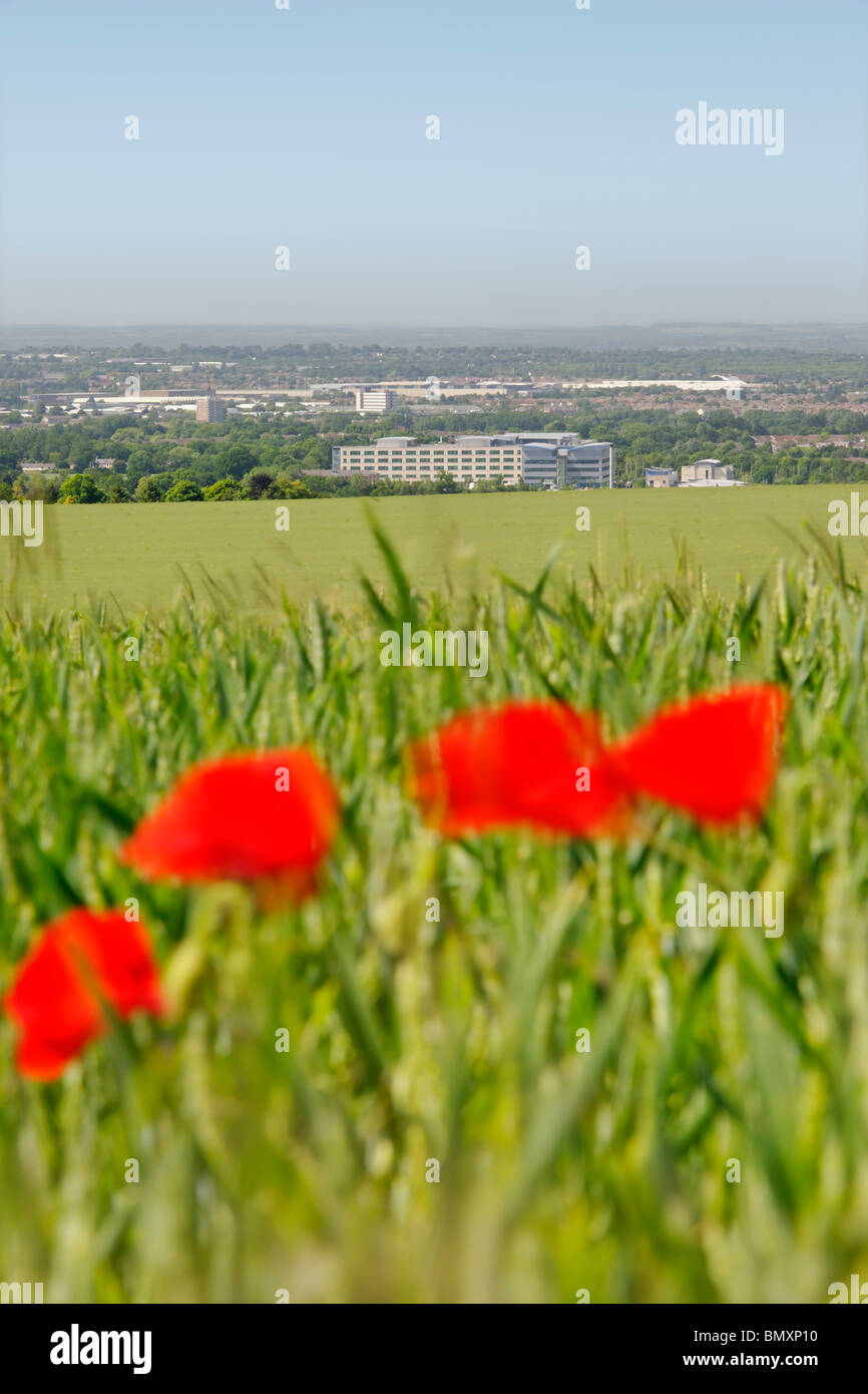 Great Western Hospital from the Wiltshire Downs - Stock Image