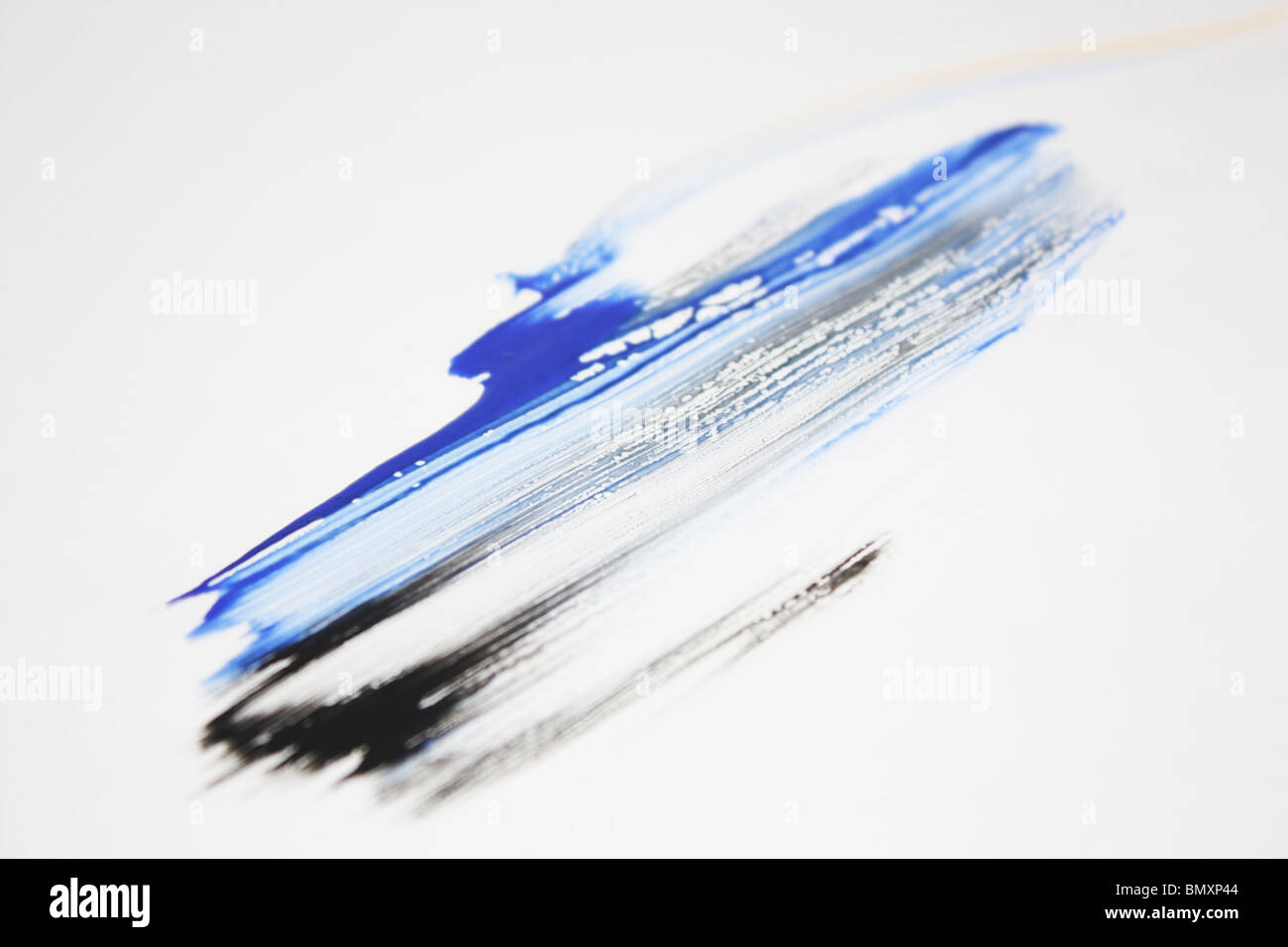 Paint smudge - blue and black - Stock Image
