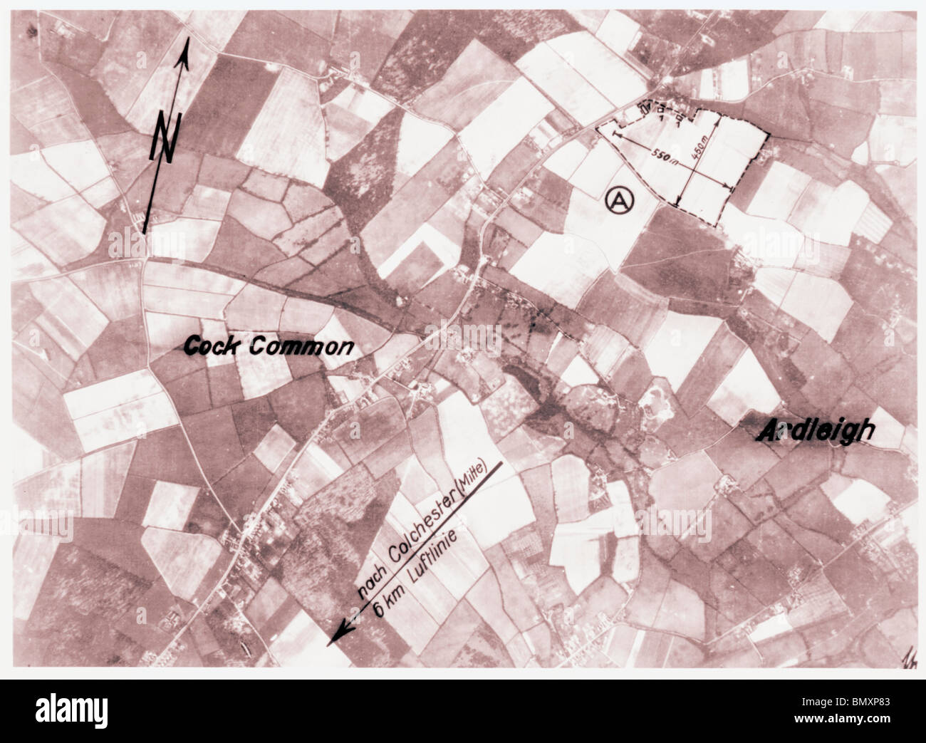 Cook Common, Ardleigh, Nr. Colchester - Essex 1940 Airfield - Stock Image