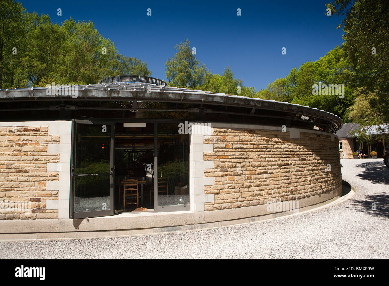 UK, England, Derbyshire, Peak District, Hathersage, Old Gasworks, David Mellor cutlery factory, roundhouse Stock Photo