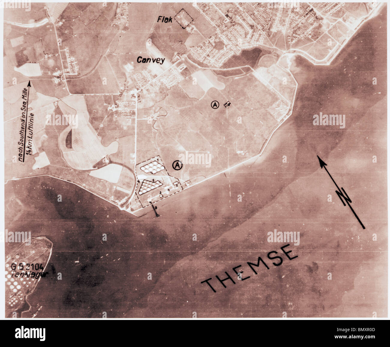 Canvey Island - Essex 1940 Chemical Storage Tanks & Fortifications - Stock Image
