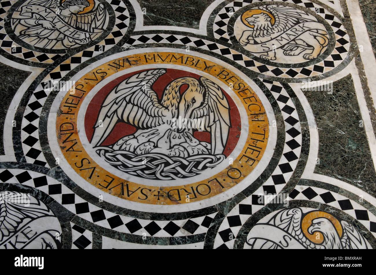 Detail of chancel floor, All Saints Church, Northampton, Northamptonshire, England, UK - Stock Image