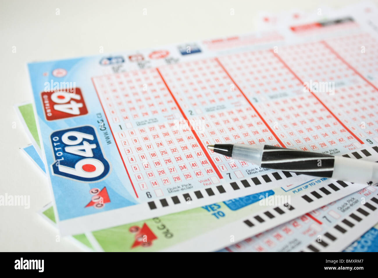 stack lottery game ticket entertainment gamble pen - Stock Image
