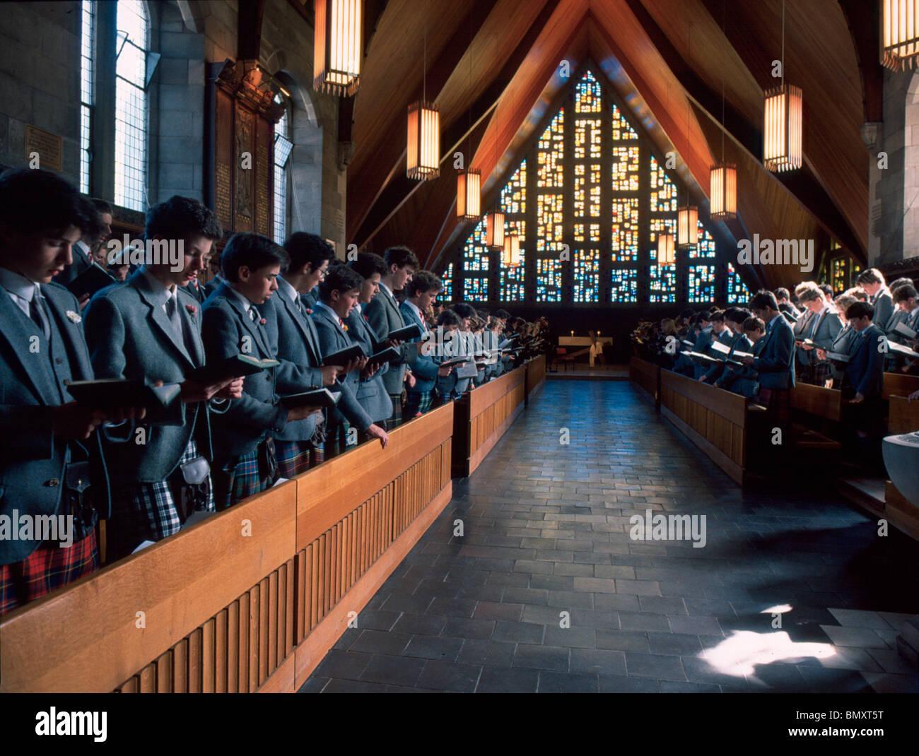 Loretto School chapel service, 1980's. Stock Photo