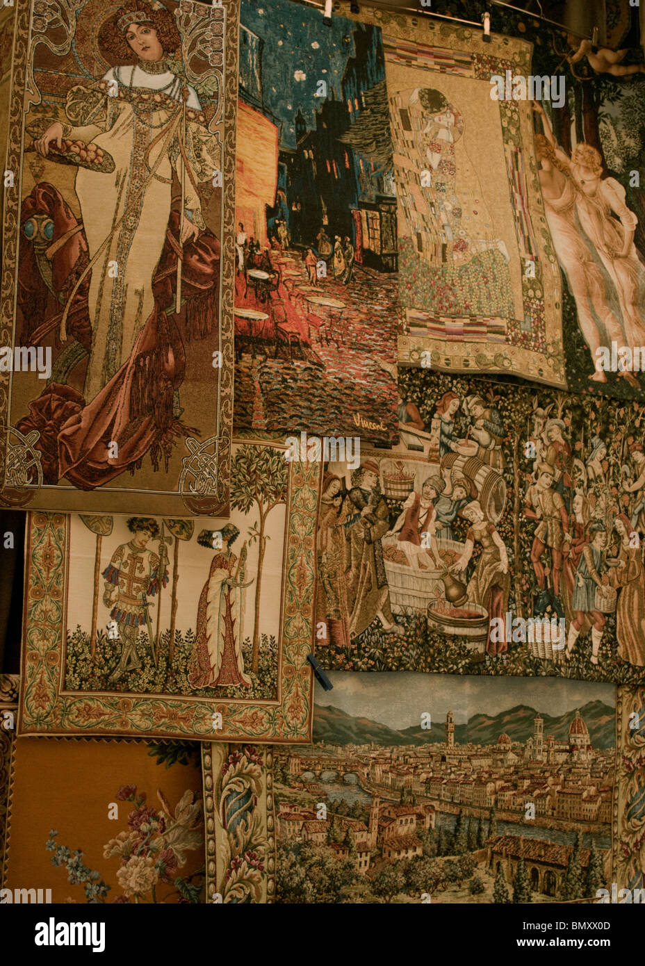 Tapestry in the Mercato Nuovo, 16th century market, in Florence, Italy - Stock Image