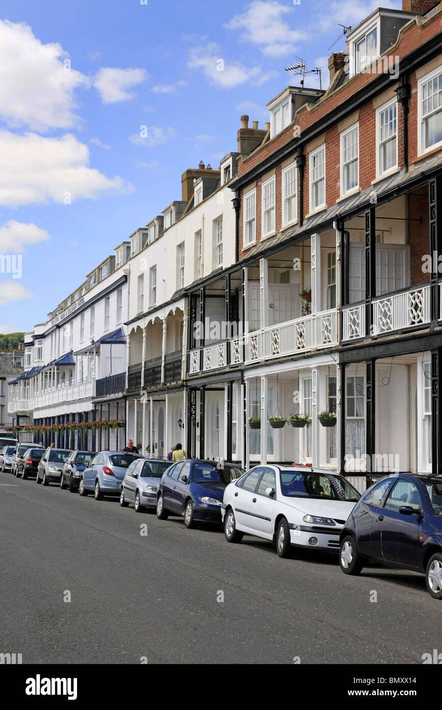 Victorian seafront buildings in sidmouth Devon England - Stock Image