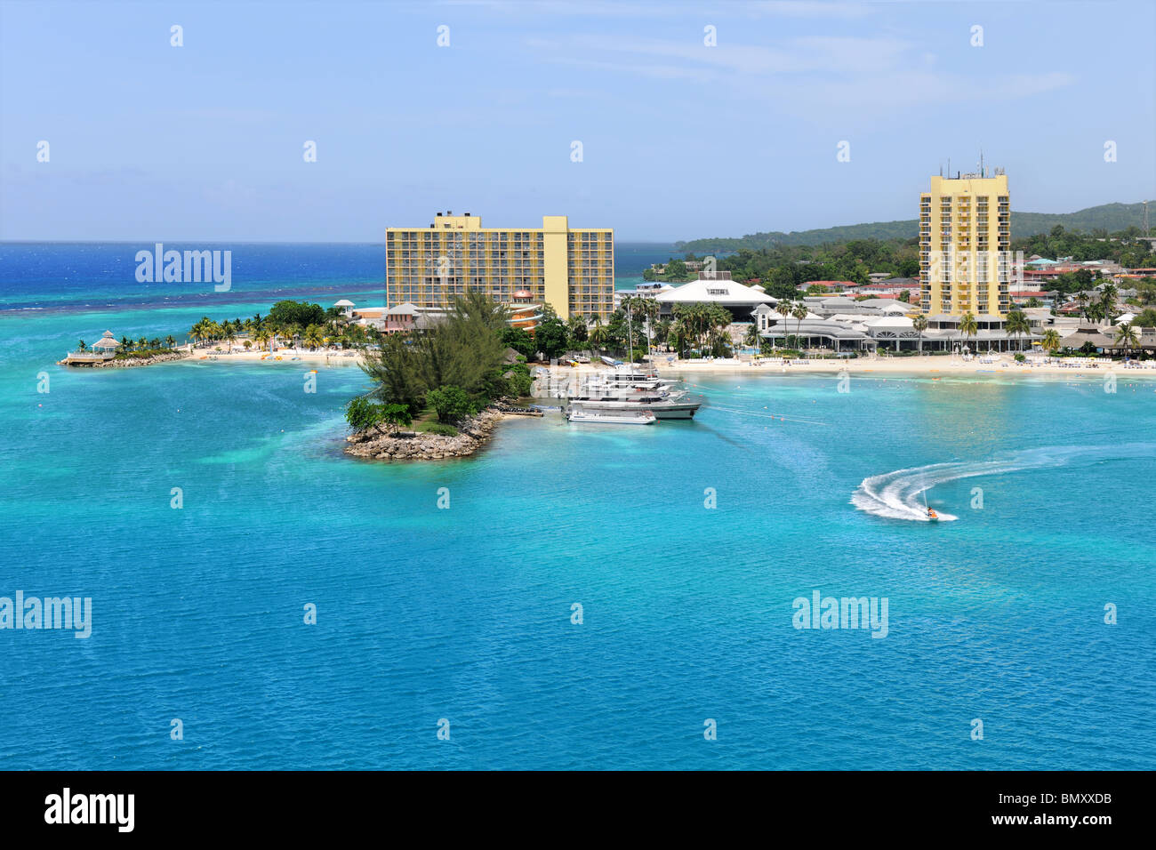 Aerial view of Ocho Rios, Jamaica in the Caribbean - Stock Image