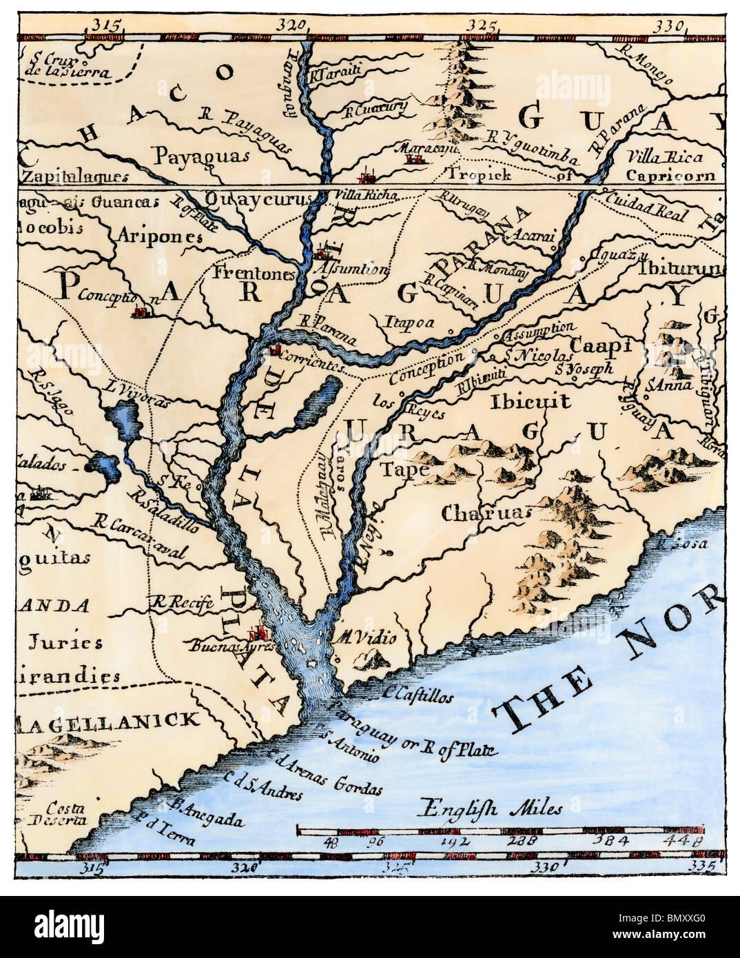 south america map rio de la plata Mouth Of The Rio De La Plata In South America In A Map Of 1698