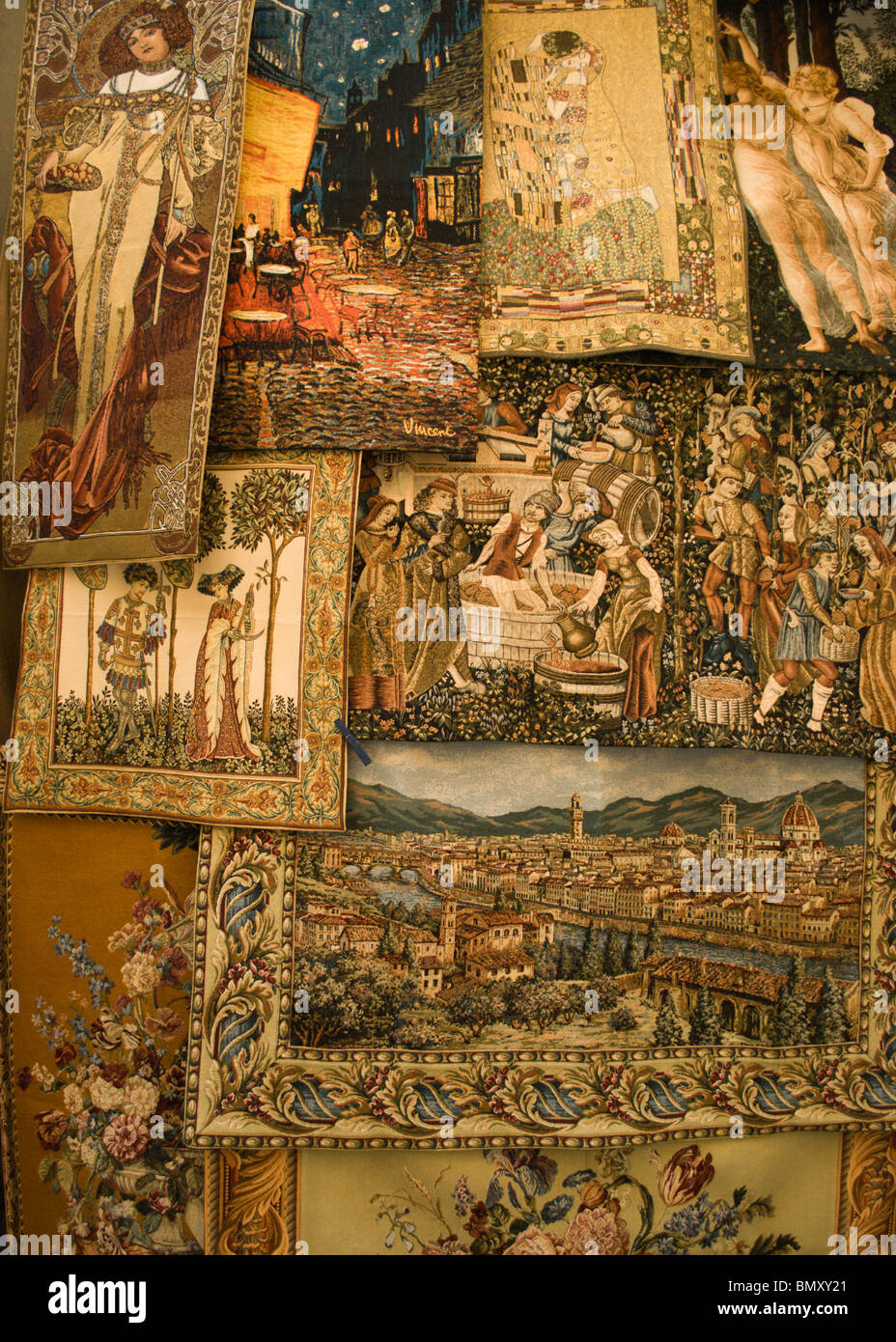 Tapestry with the views of Florence and traditional themes in the Mercato Nuovo, 16th century market, in Florence, - Stock Image