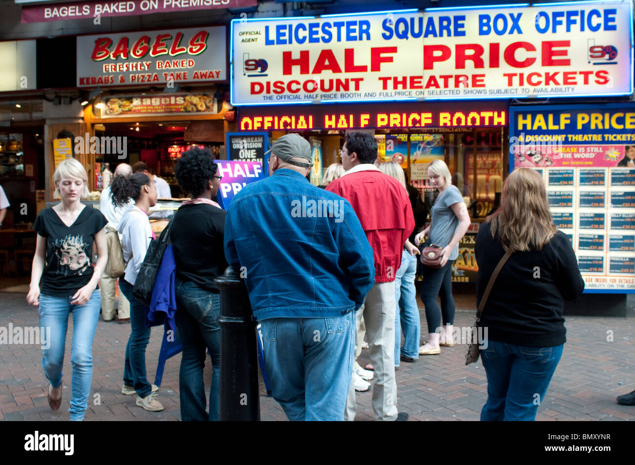 Box Office selling half price theatre tickets, Leicester Square, London, UK Stock Photo