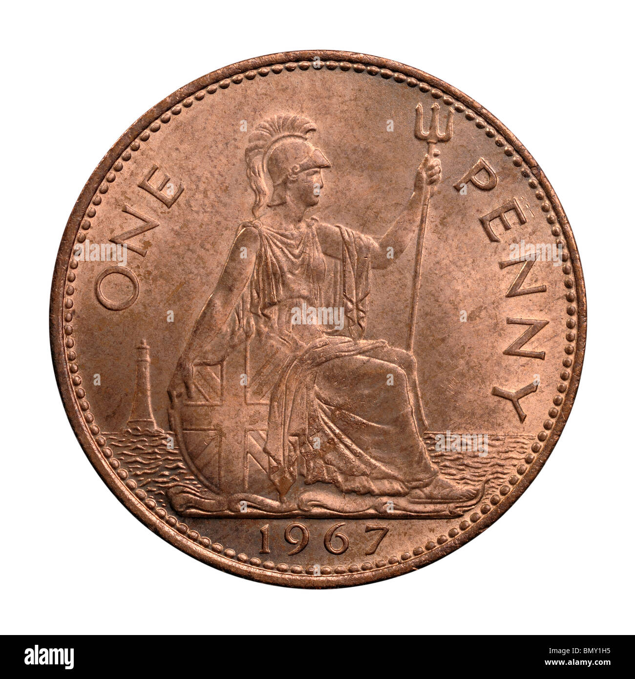 1967 UK One Penny coin - Stock Image