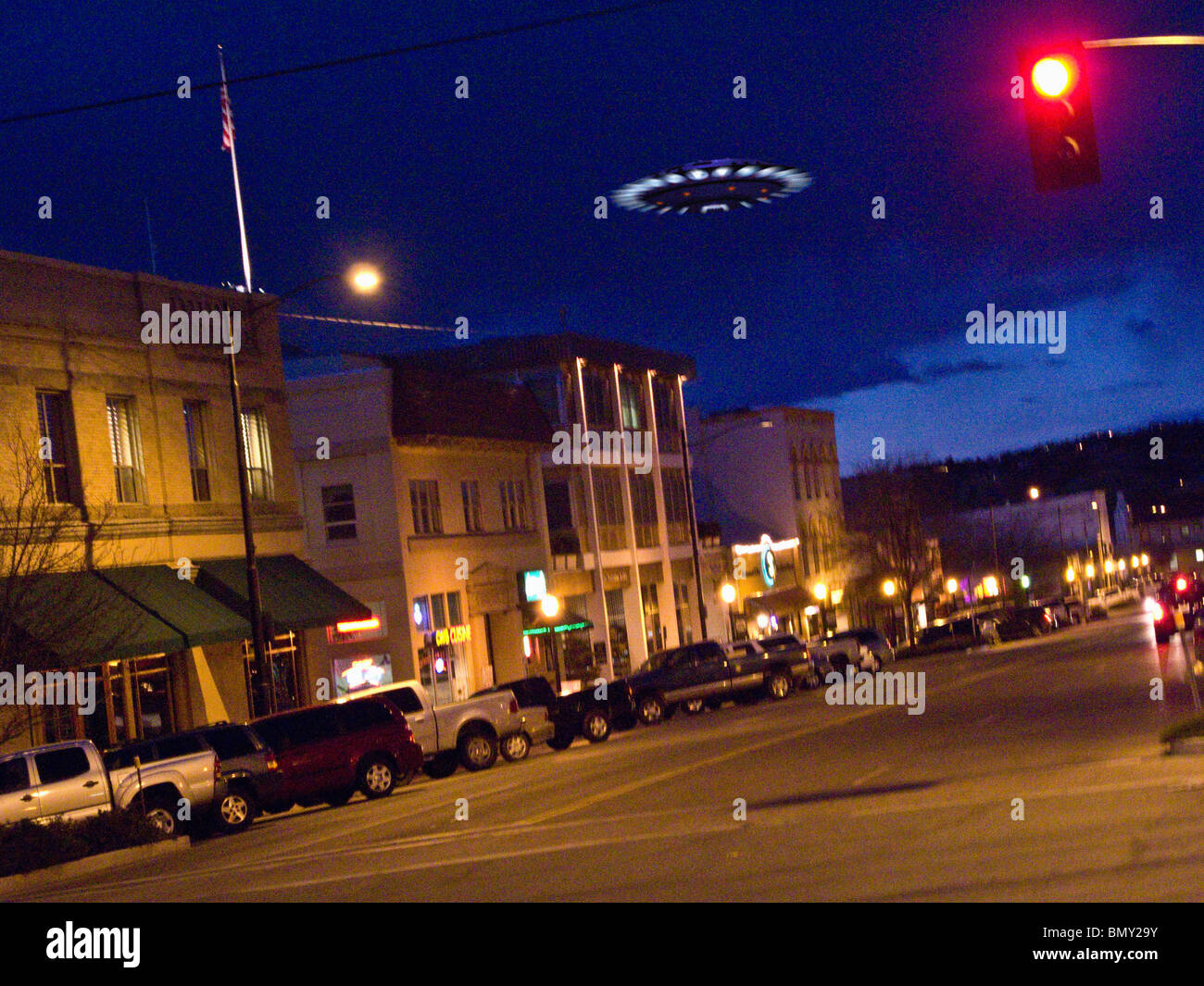 Urban UFO sighting - Stock Image