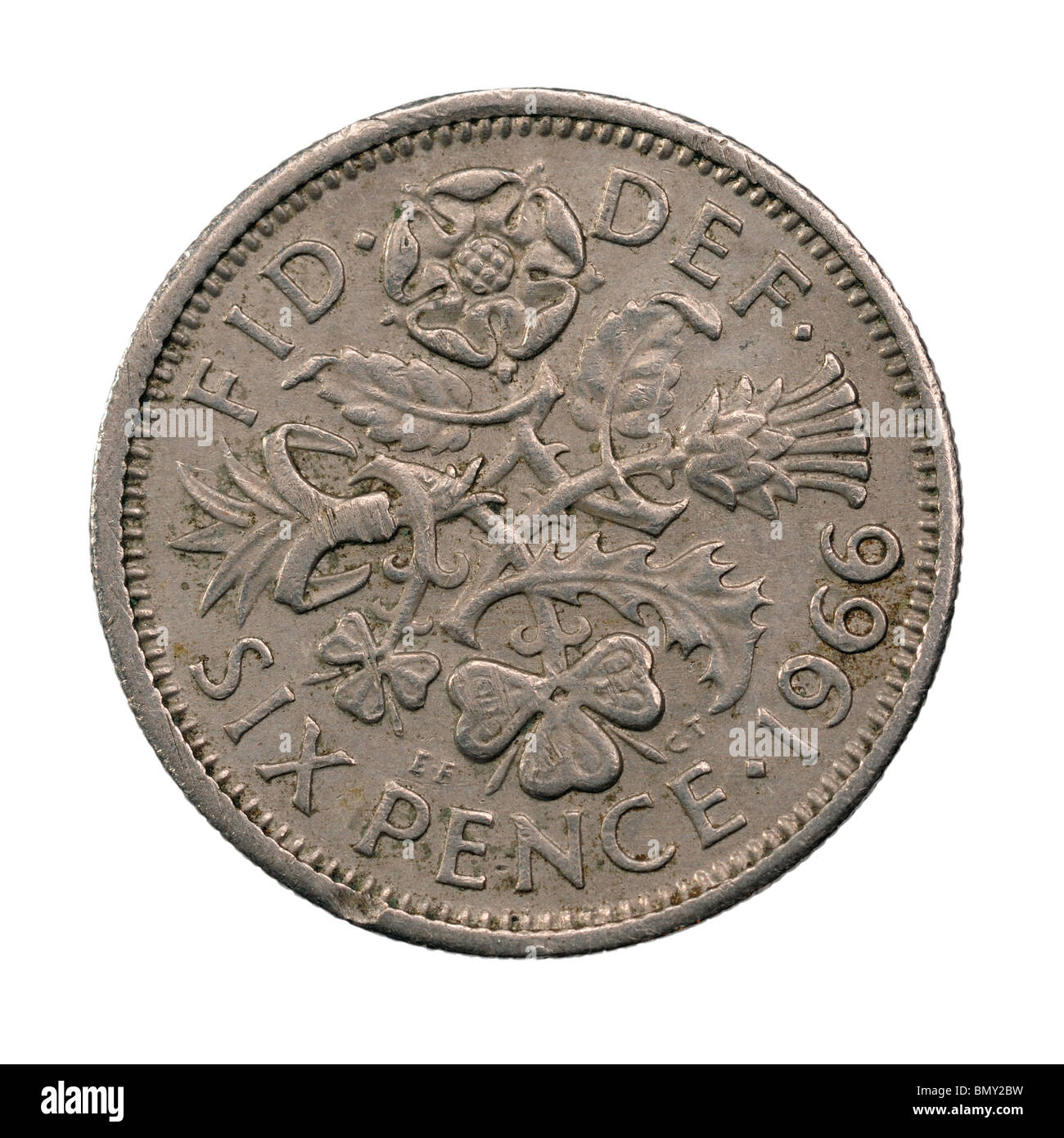 1966 UK Sixpence coin - Stock Image