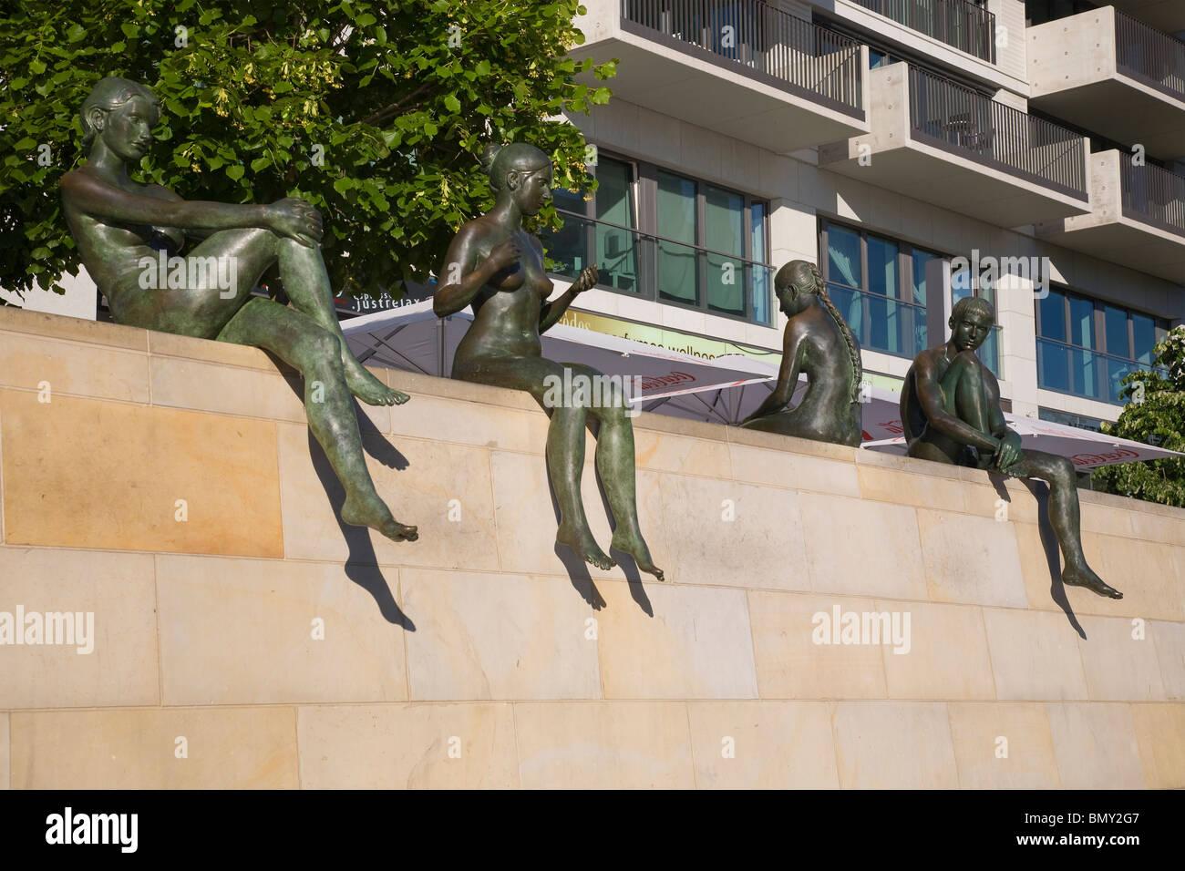 Sunbather statues by River Spree, Berlin, Germany - Stock Image