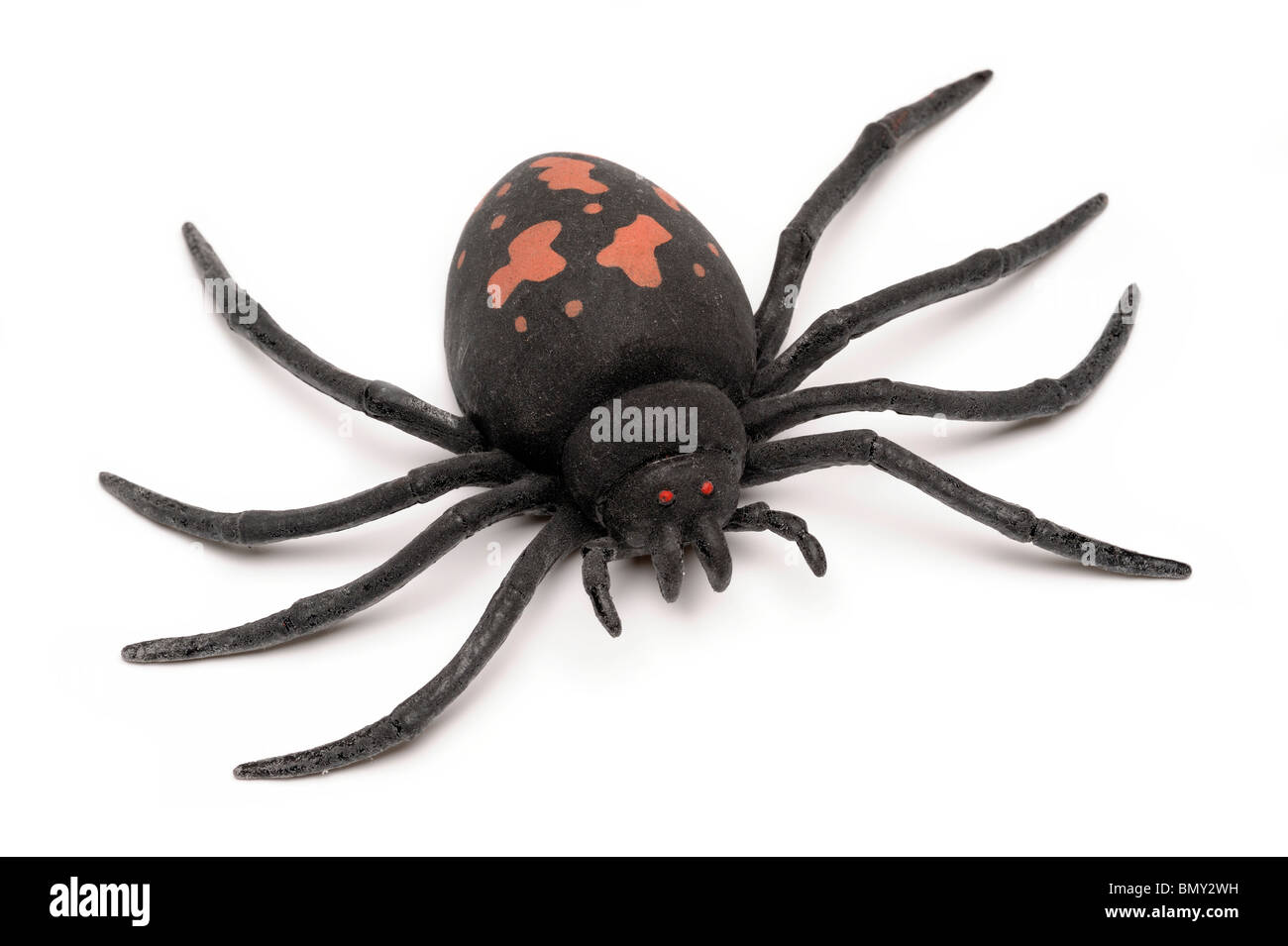 Big black toy rubber spider - Stock Image