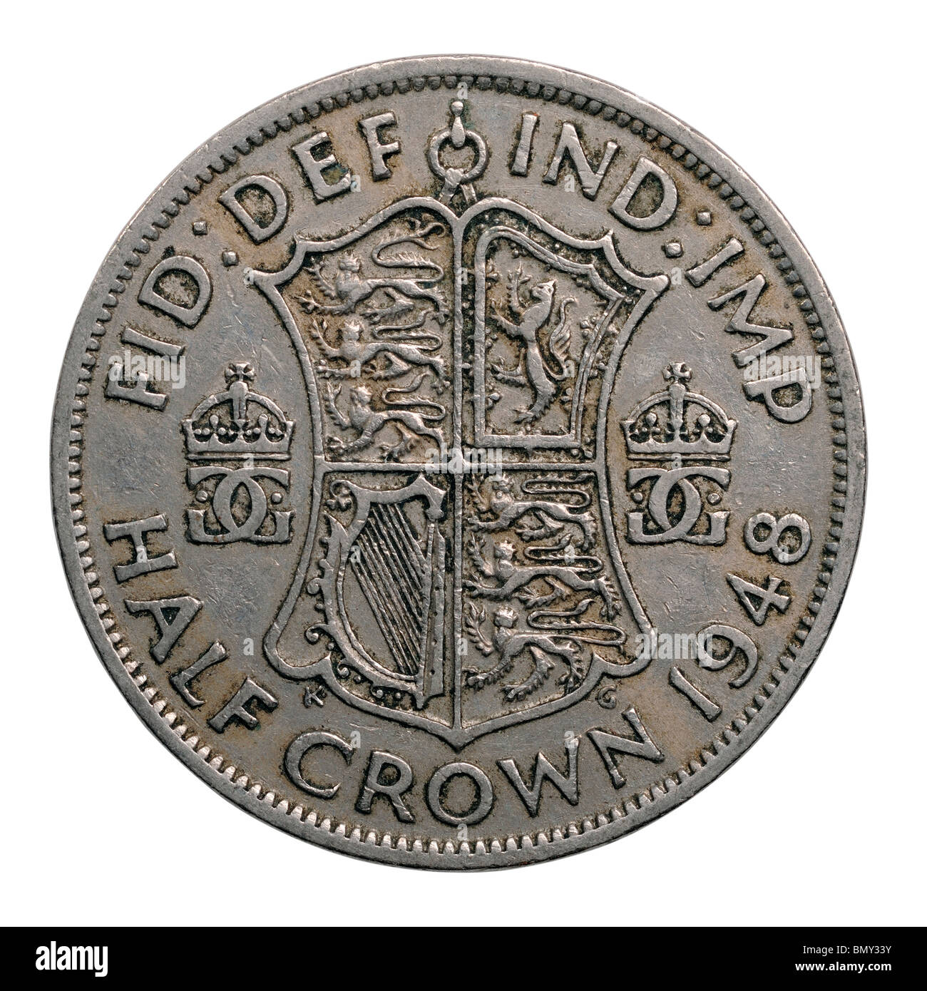 1948 half crown coin king george vi - Stock Image