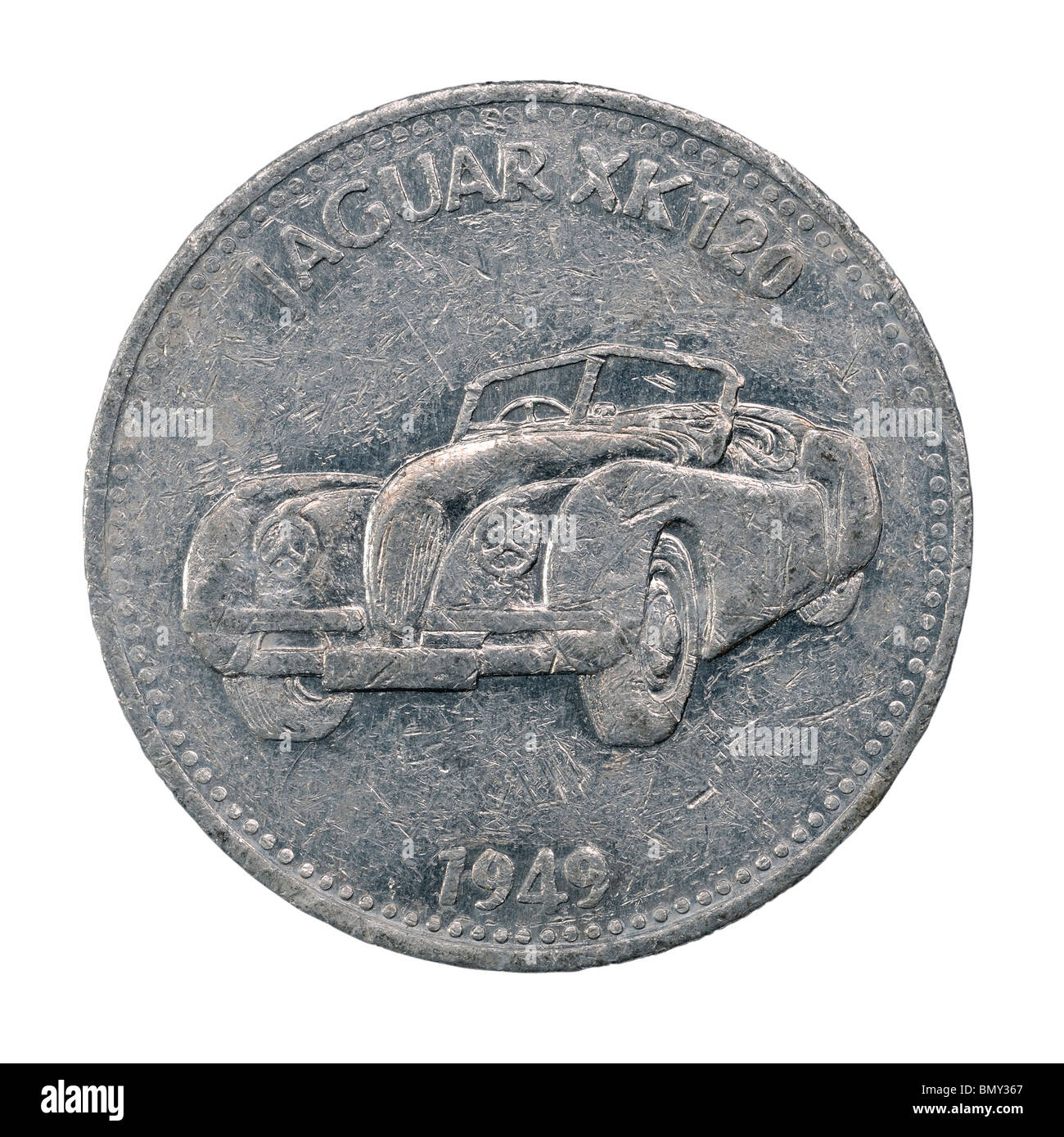 Jaguar XK 120 metal token - Stock Image