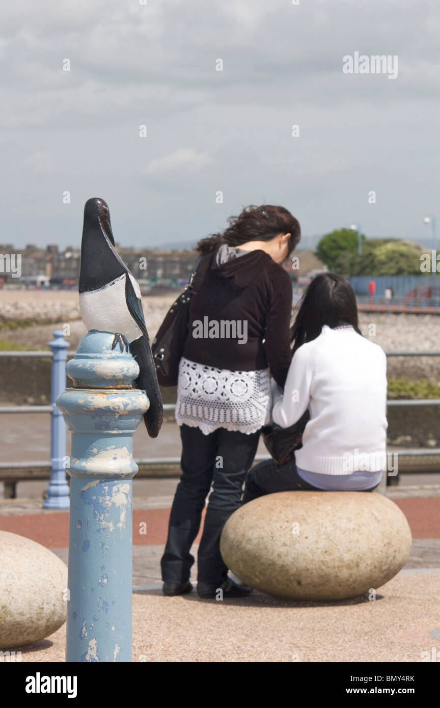 Tern Project on Morecambe seafront and stone jetty - Stock Image