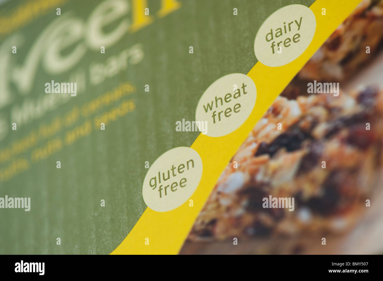 Wheat free, Gluten free, Dairy free food packet labeling - Stock Image