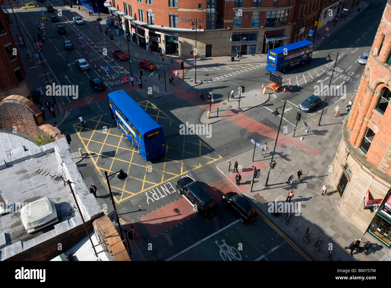 Manchester city centre shot from the top of a car park looking down onto a cross roads along oxford road near the - Stock Image