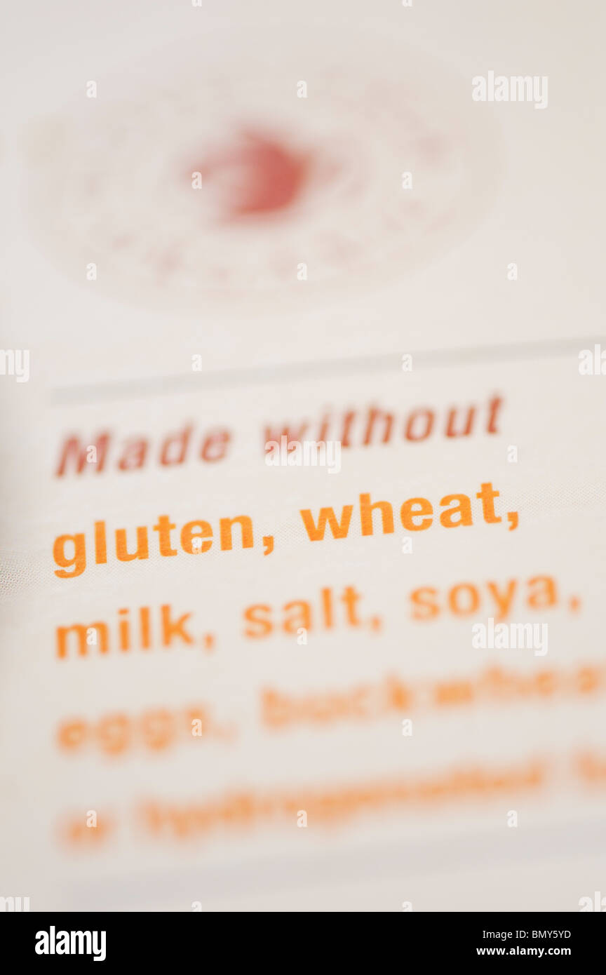 Wheat free, Gluten free, food packet labeling on organic cookies Stock Photo