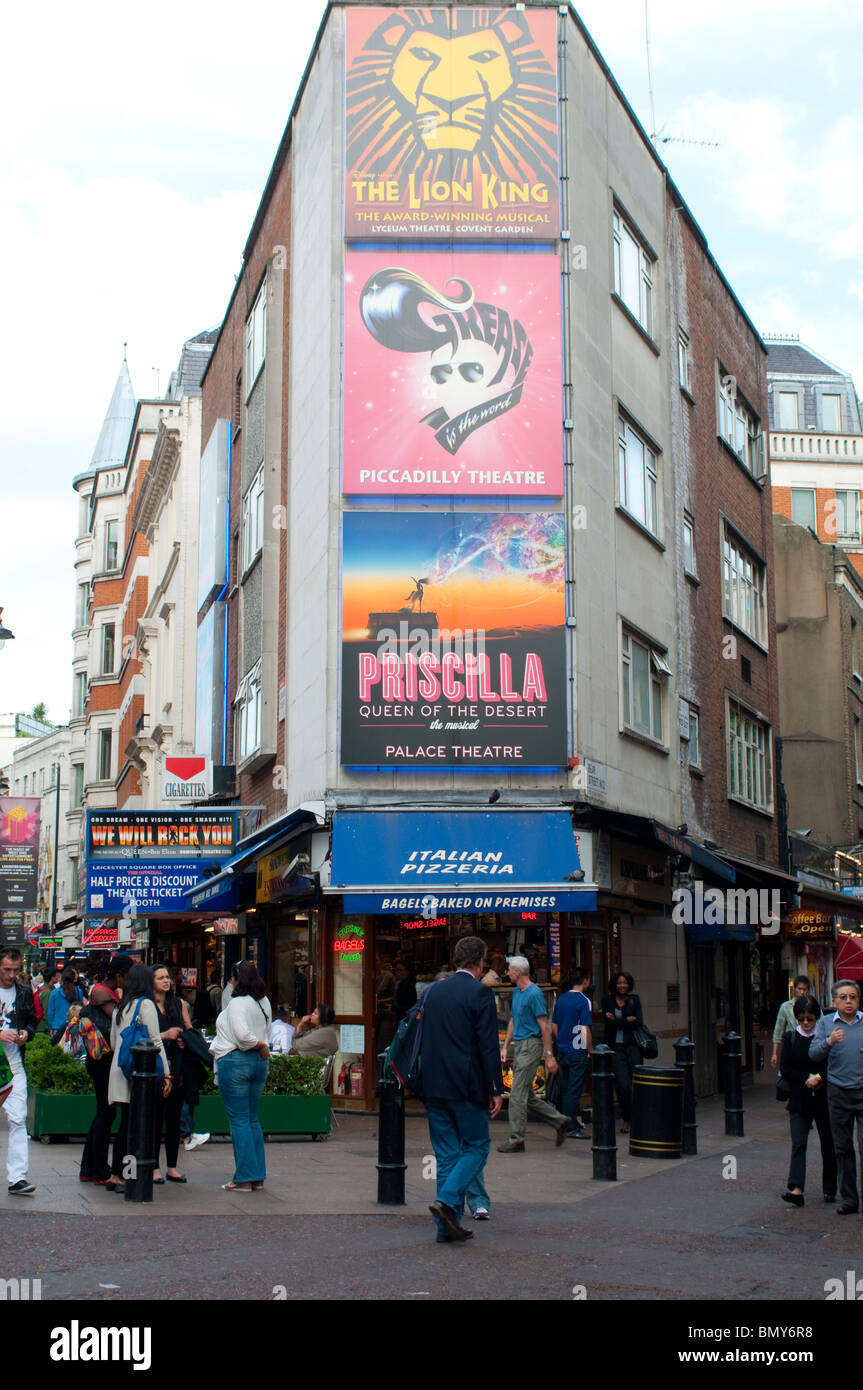 Theatre advertisements, Leicester Square, London, UK - Stock Image
