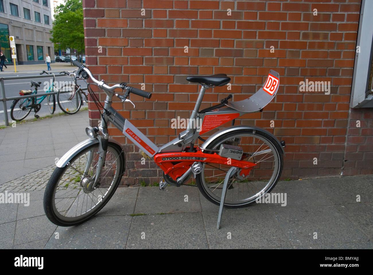 DB Deutsche Bahn rental bicycle outside Tiergarten S-Bahn station Berlin Germany Europe Stock Photo