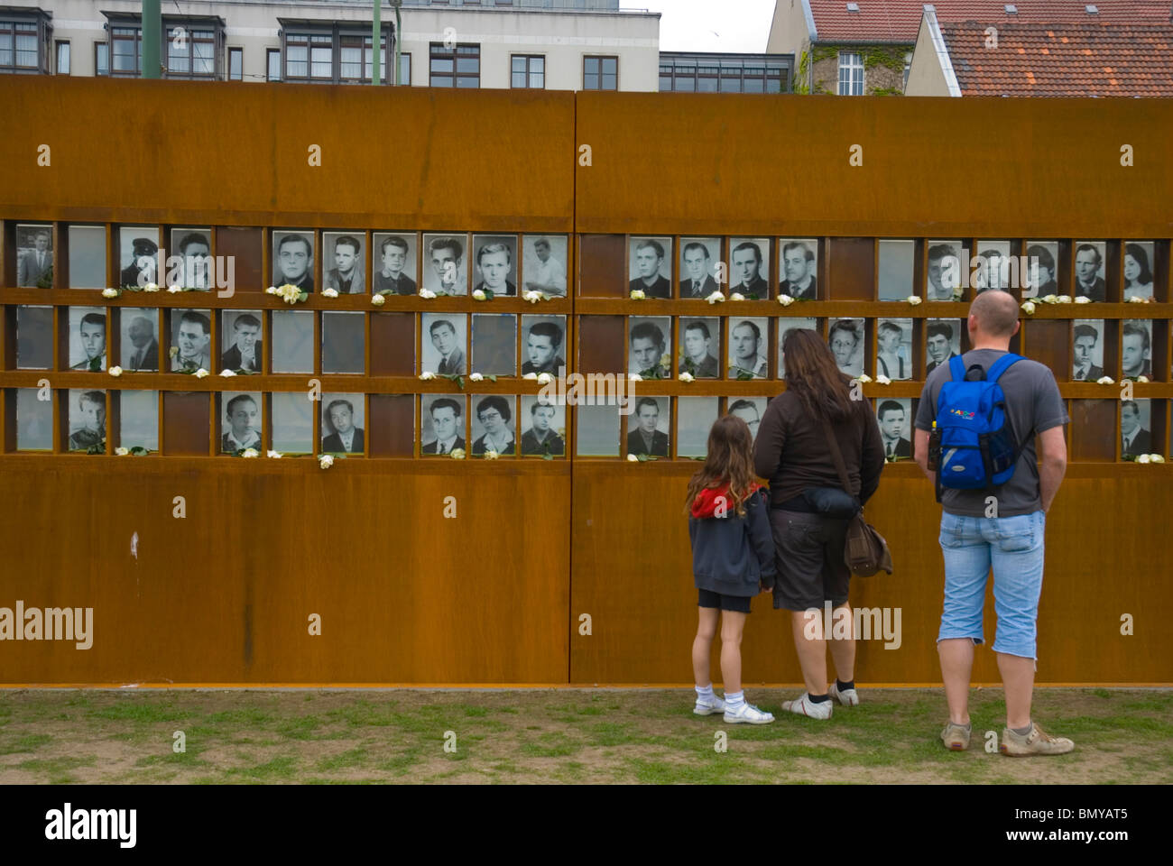 Berlin Wall exhibition at Nordbahnhof metro station between old east and west Mitte Berlin Germany Europe - Stock Image