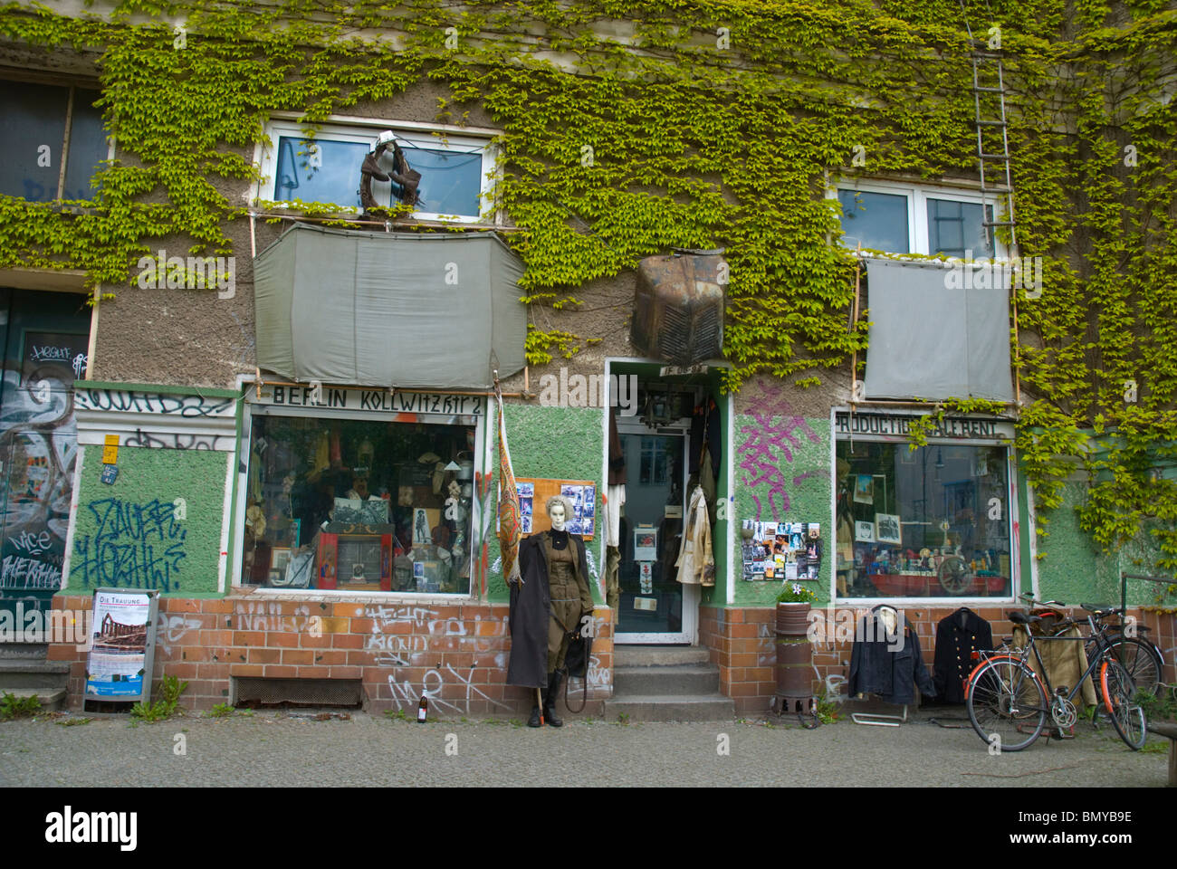 Costume rental and 2nd hand shop exterior Prenzlauer Berg east Berlin Germany Europe - Stock Image