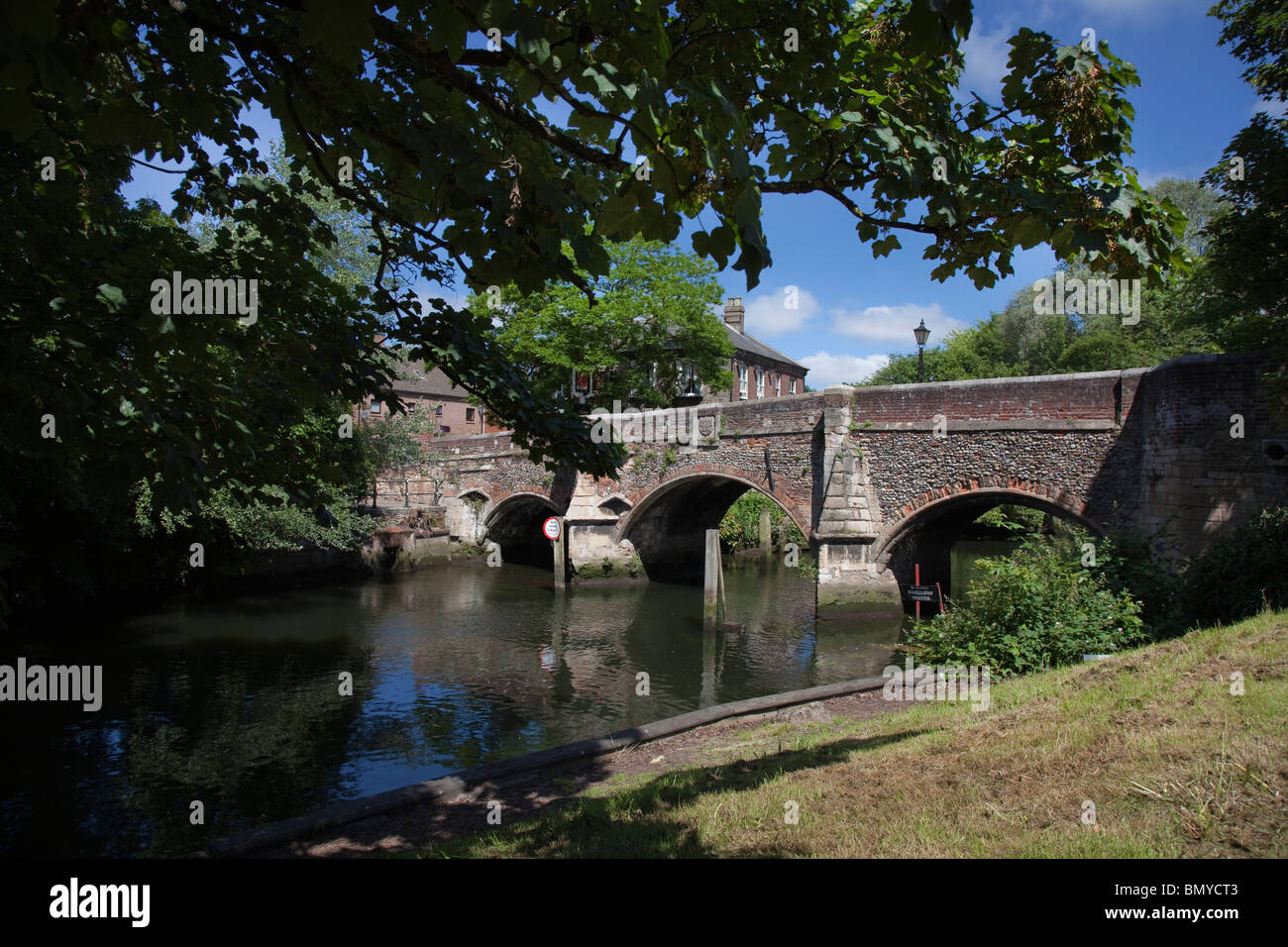 Bishops Bridge Norwich England - Stock Image