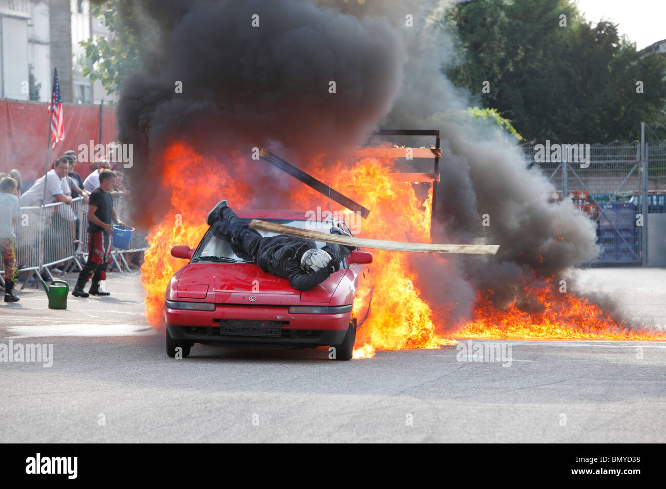 stunt show with fire Stock Photo